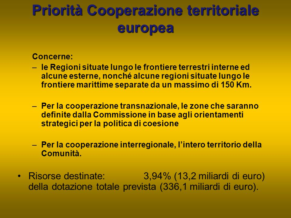 Priorità Cooperazione territoriale europea