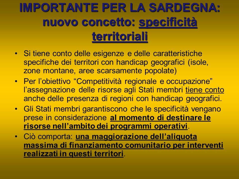 IMPORTANTE PER LA SARDEGNA: nuovo concetto: specificità territoriali