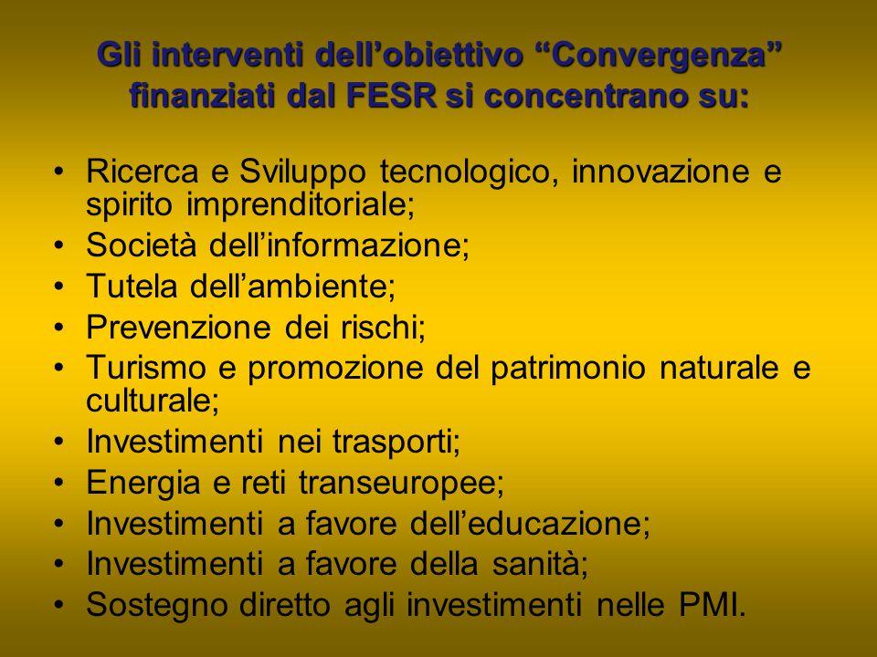 Gli interventi dell'obiettivo Convergenza finanziati dal FESR si concentrano su: