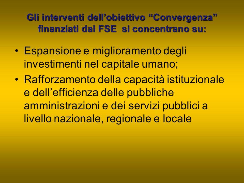 Espansione e miglioramento degli investimenti nel capitale umano;