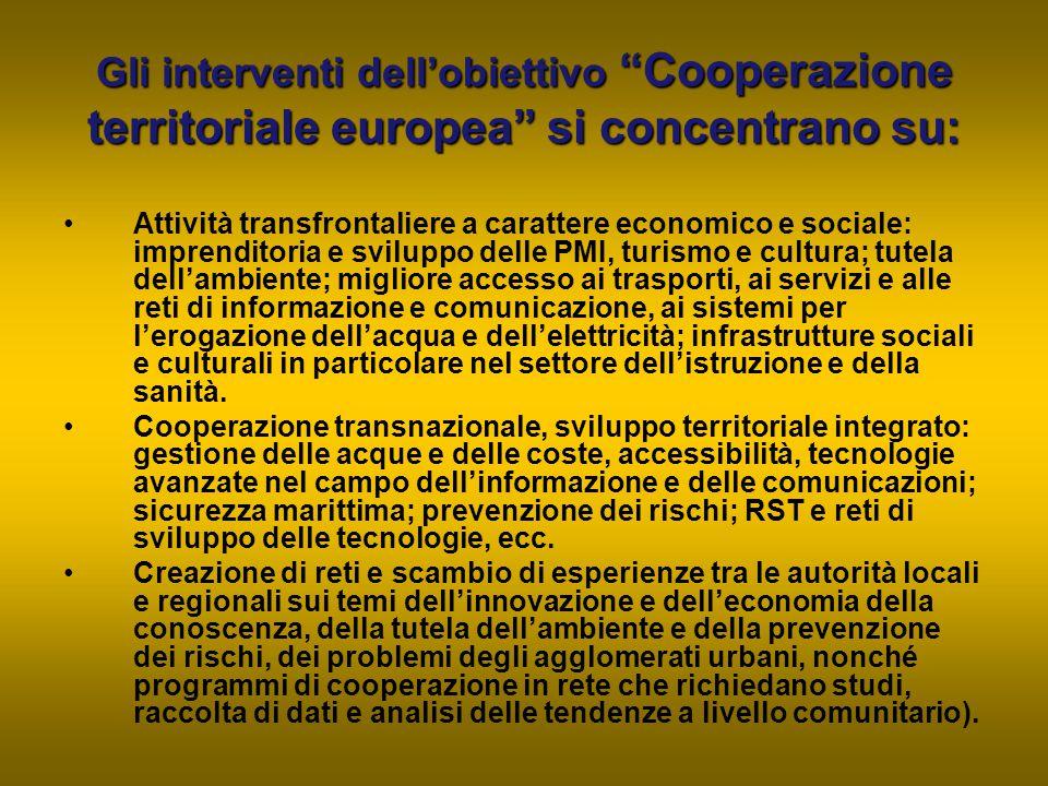 Gli interventi dell'obiettivo Cooperazione territoriale europea si concentrano su: