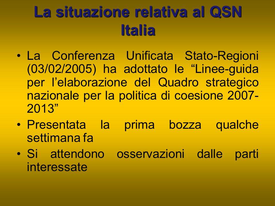 La situazione relativa al QSN Italia
