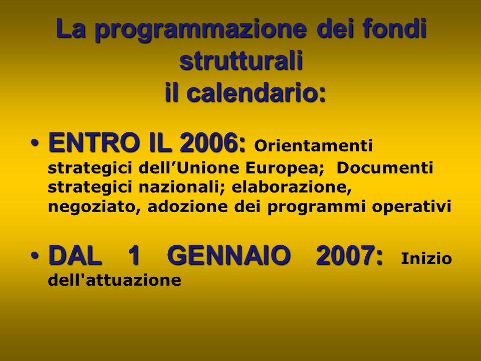 La programmazione dei fondi strutturali il calendario:
