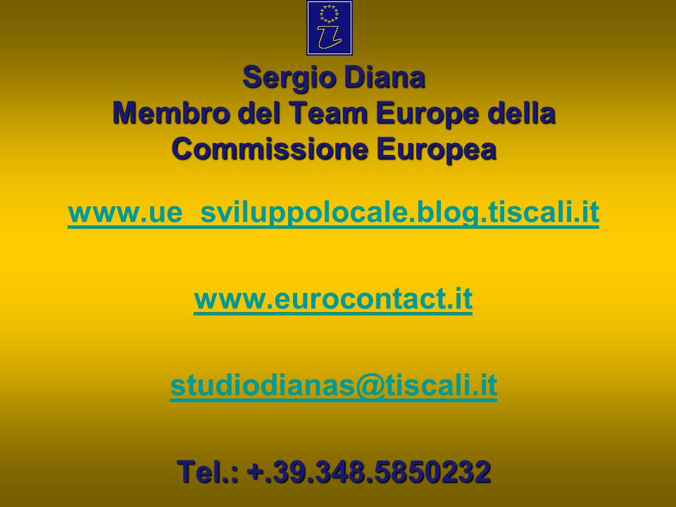 Sergio Diana Membro del Team Europe della Commissione Europea