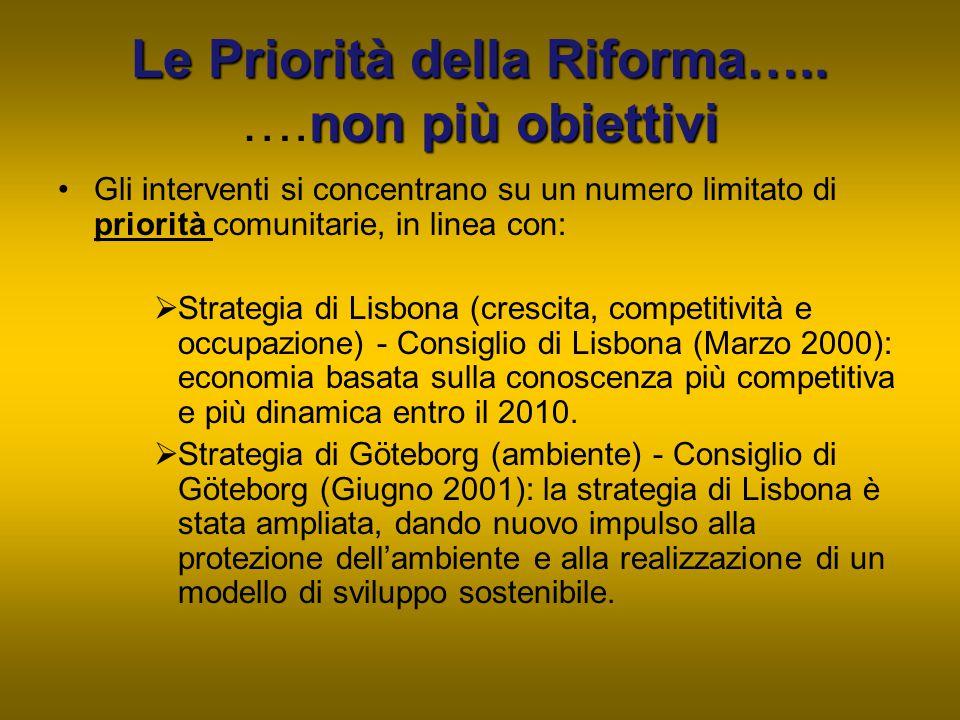 Le Priorità della Riforma….. ….non più obiettivi