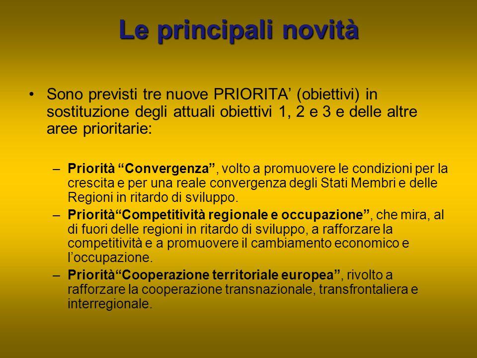 Le principali novità Sono previsti tre nuove PRIORITA' (obiettivi) in sostituzione degli attuali obiettivi 1, 2 e 3 e delle altre aree prioritarie: