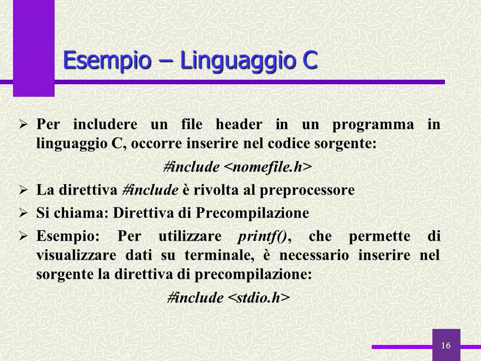 Esempio – Linguaggio C Per includere un file header in un programma in linguaggio C, occorre inserire nel codice sorgente: