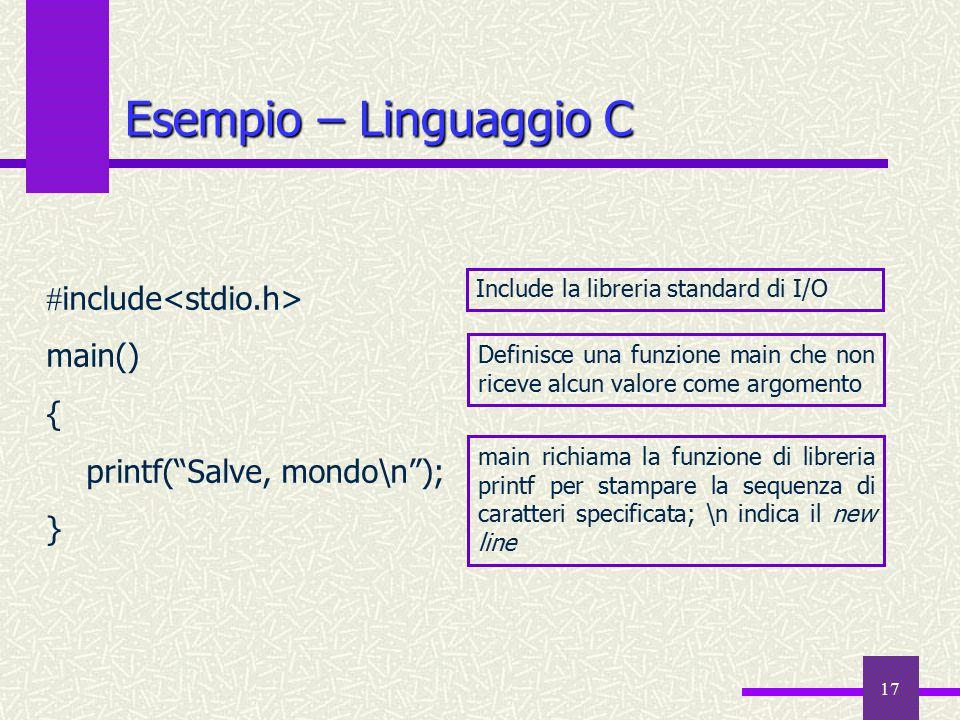 Esempio – Linguaggio C include<stdio.h> main() {