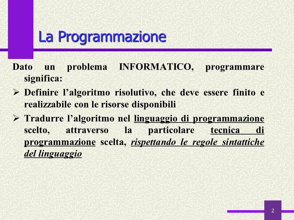 La Programmazione Dato un problema INFORMATICO, programmare significa: