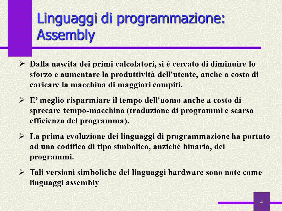Linguaggi di programmazione: Assembly