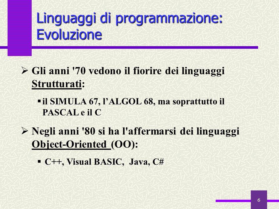 Linguaggi di programmazione: Evoluzione