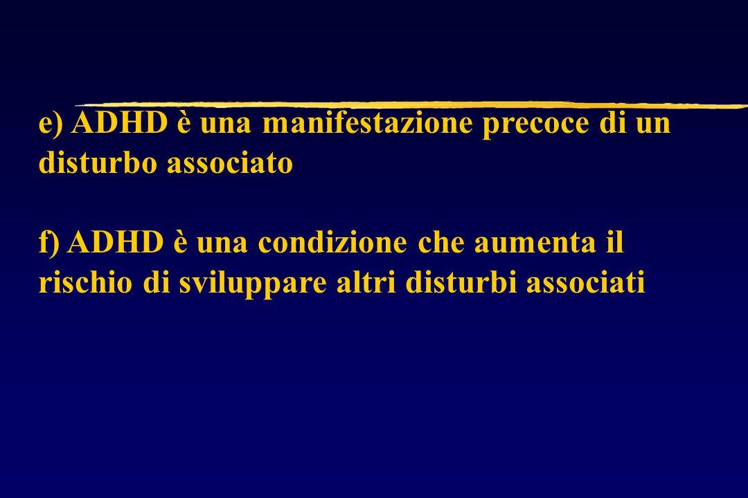 e) ADHD è una manifestazione precoce di un disturbo associato