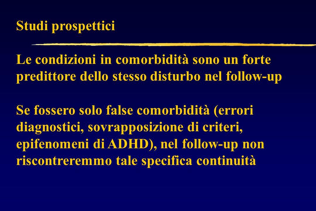 Studi prospettici Le condizioni in comorbidità sono un forte predittore dello stesso disturbo nel follow-up.