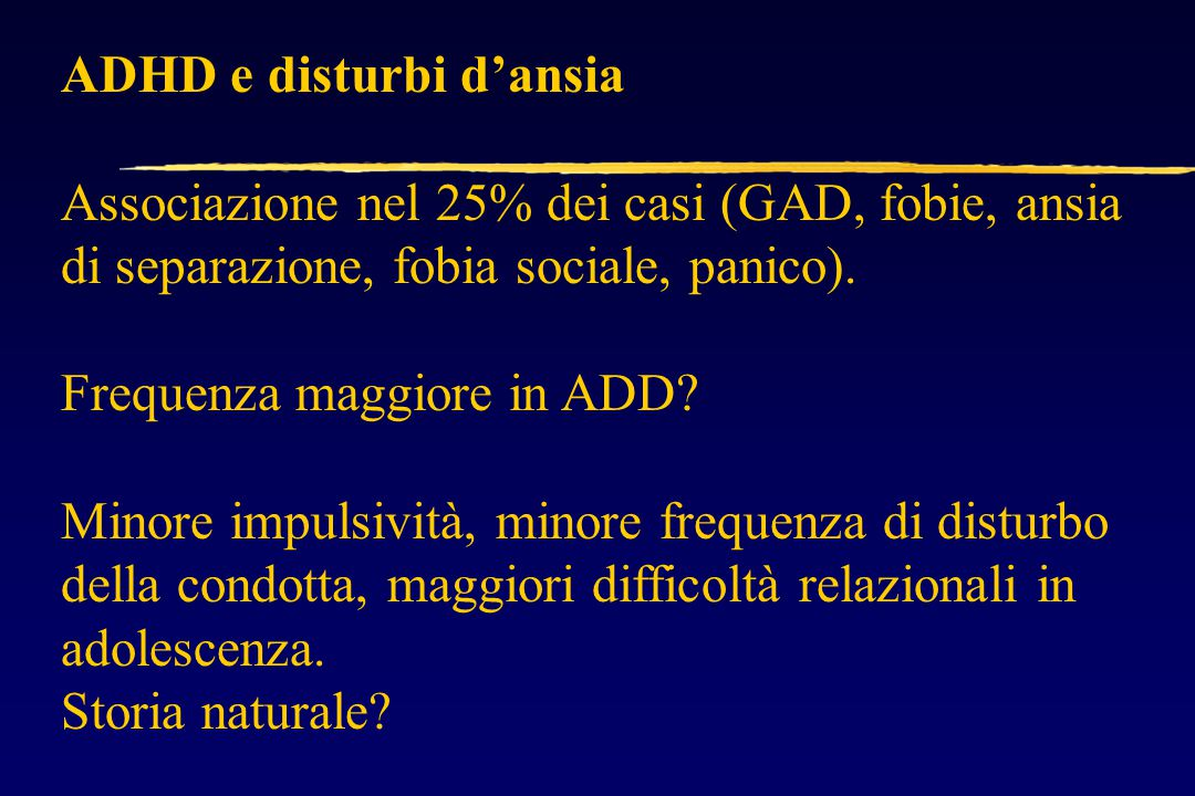 ADHD e disturbi d'ansia