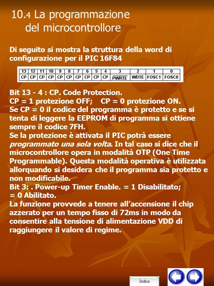 10.4 La programmazione del microcontrollore