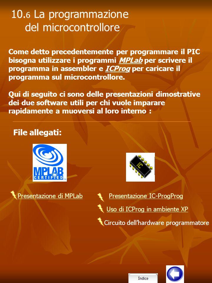 10.6 La programmazione del microcontrollore