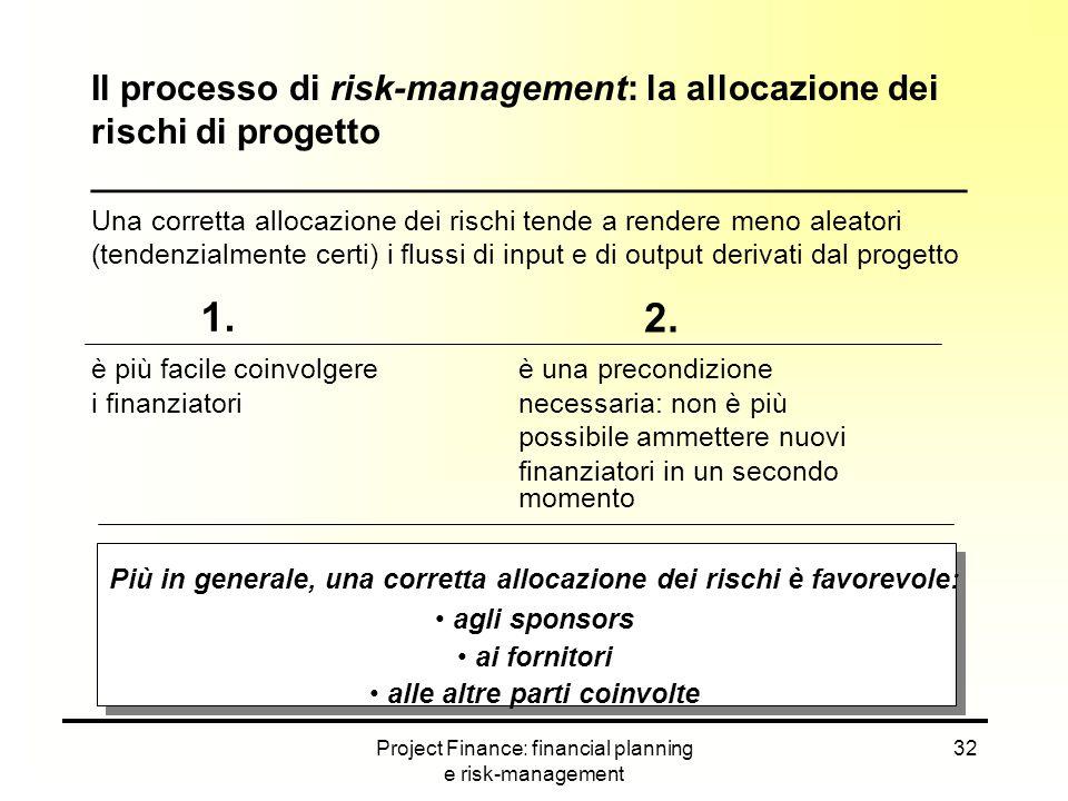 Il processo di risk-management: la allocazione dei rischi di progetto ____________________________________________