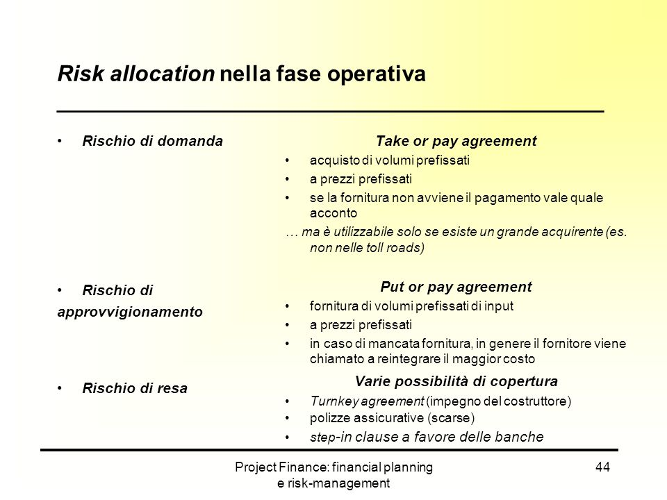 Risk allocation nella fase operativa ____________________________________________
