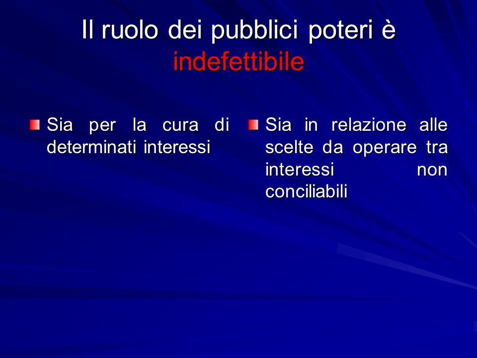 Il ruolo dei pubblici poteri è indefettibile