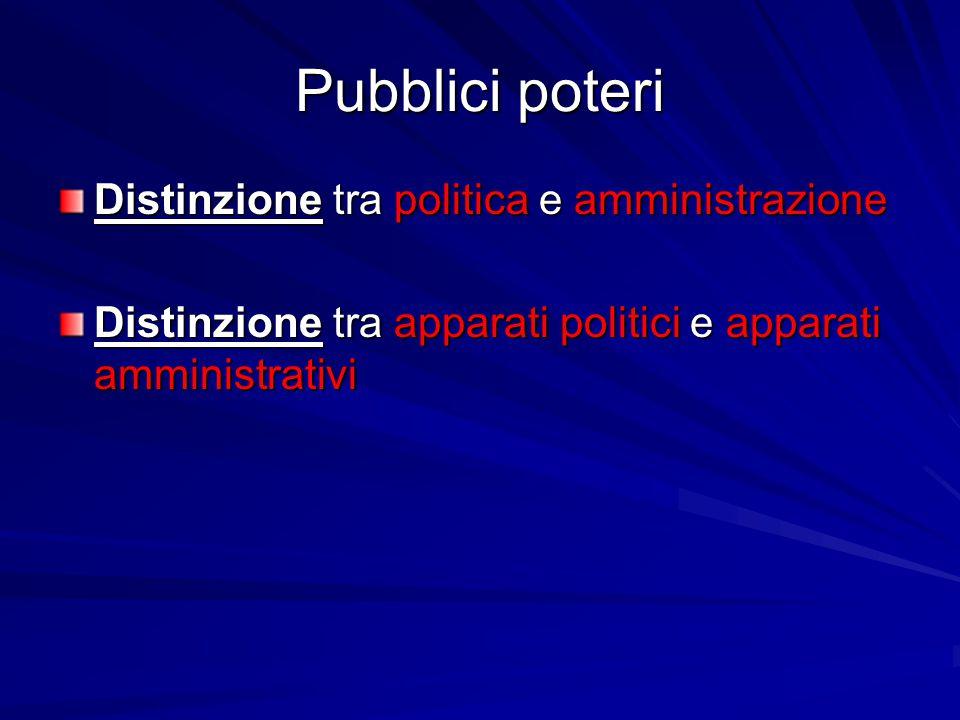 Pubblici poteri Distinzione tra politica e amministrazione