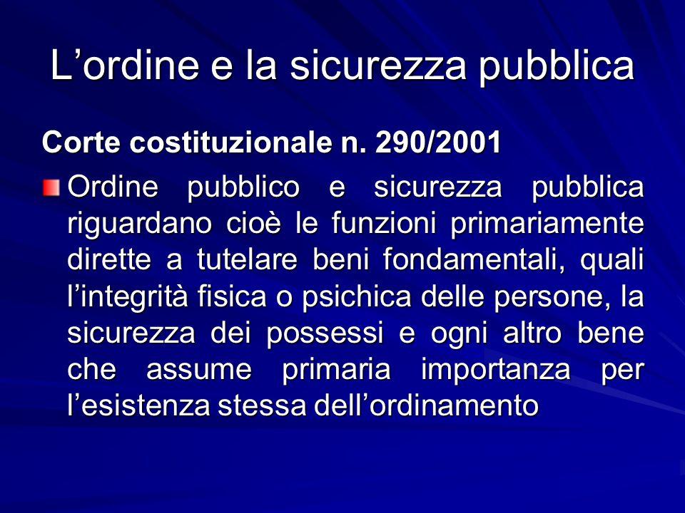L'ordine e la sicurezza pubblica