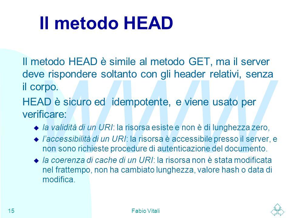 Il metodo HEAD Il metodo HEAD è simile al metodo GET, ma il server deve rispondere soltanto con gli header relativi, senza il corpo.