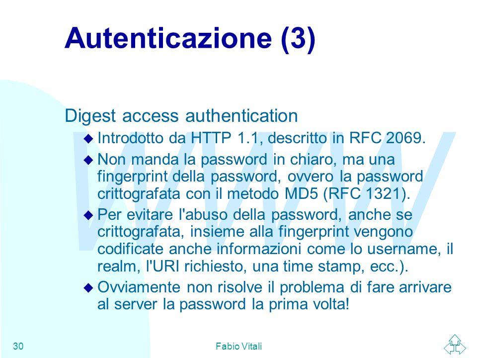 Autenticazione (3) Digest access authentication