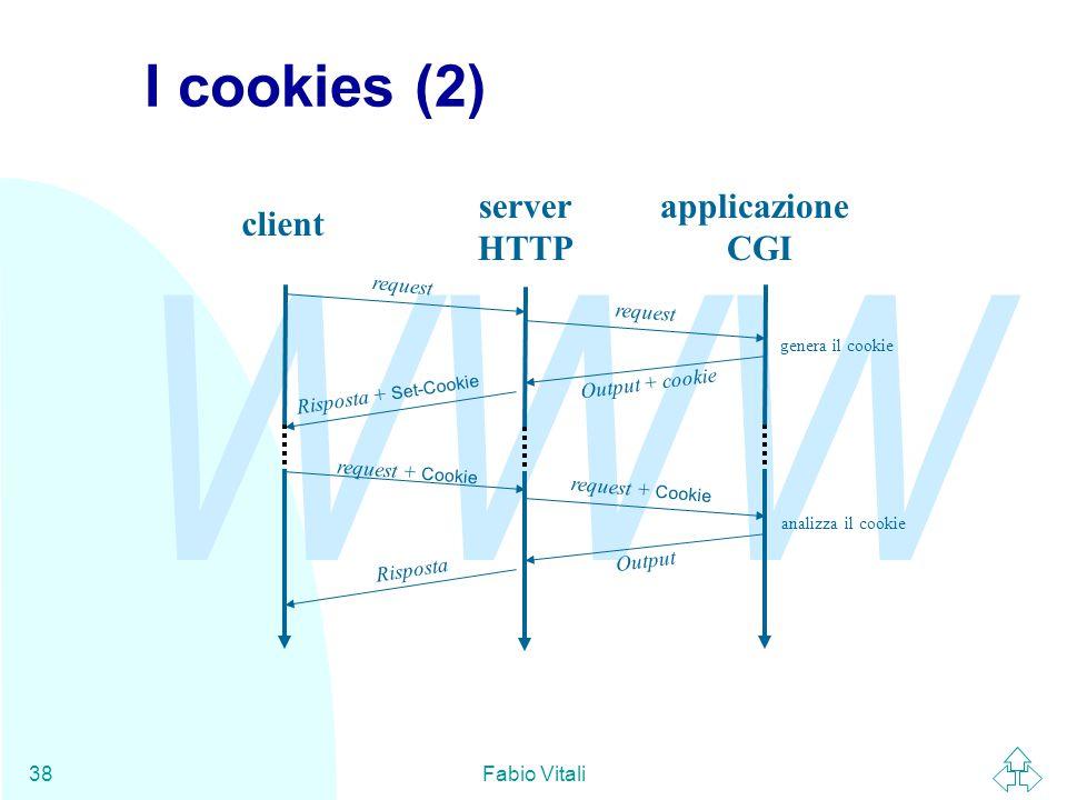 I cookies (2) server HTTP applicazione CGI client request request
