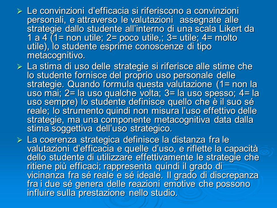 Le convinzioni d'efficacia si riferiscono a convinzioni personali, e attraverso le valutazioni assegnate alle strategie dallo studente all'interno di una scala Likert da 1 a 4 (1= non utile; 2= poco utile,; 3= utile; 4= molto utile), lo studente esprime conoscenze di tipo metacognitivo.