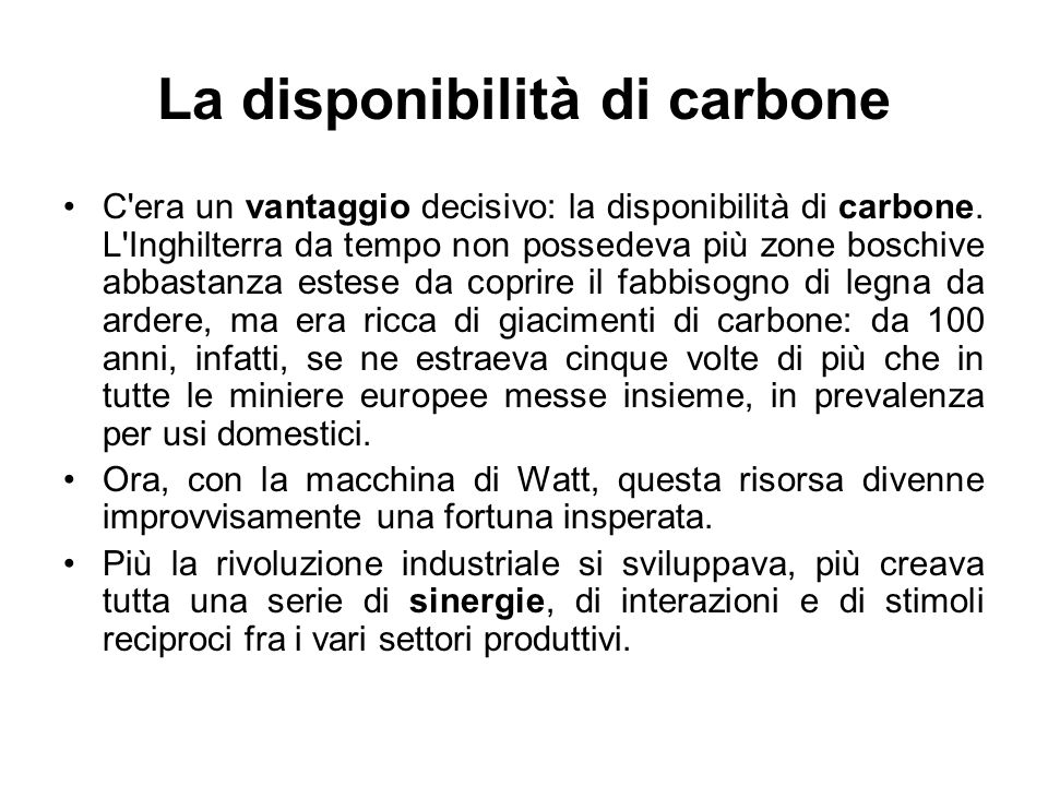 La disponibilità di carbone