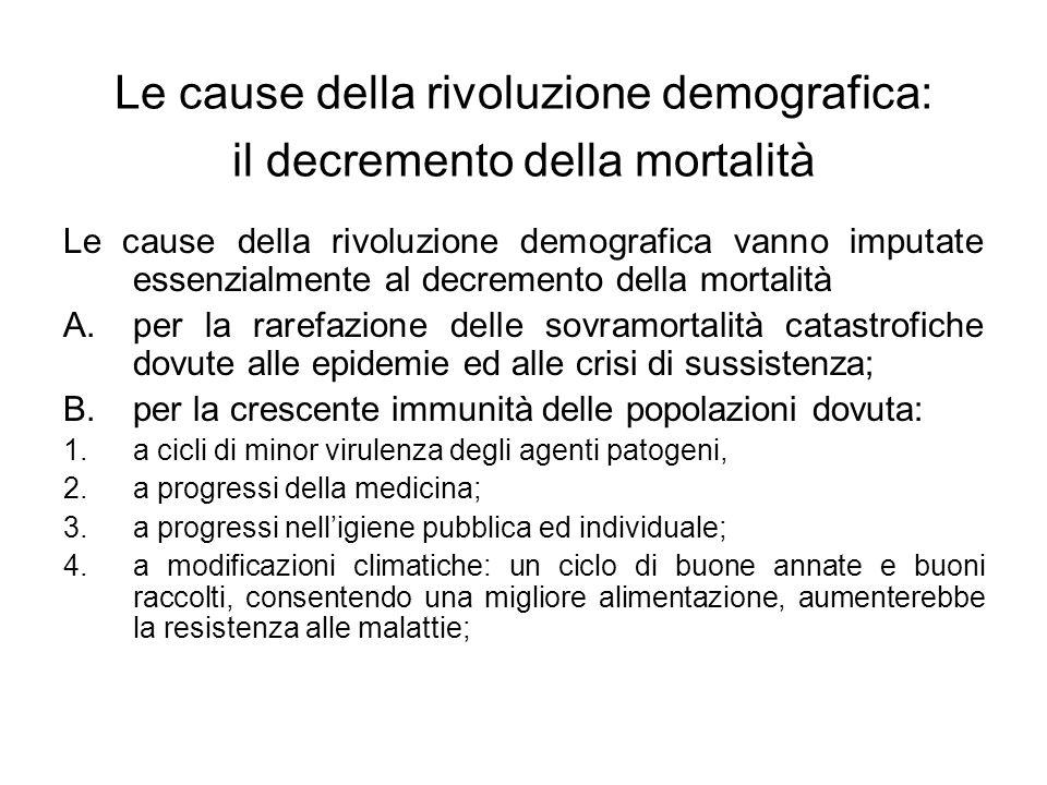 Le cause della rivoluzione demografica: il decremento della mortalità