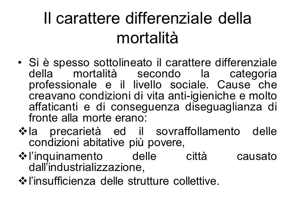 Il carattere differenziale della mortalità