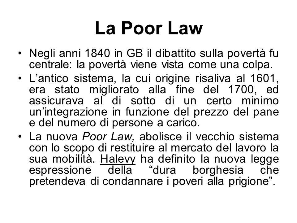 La Poor Law Negli anni 1840 in GB il dibattito sulla povertà fu centrale: la povertà viene vista come una colpa.