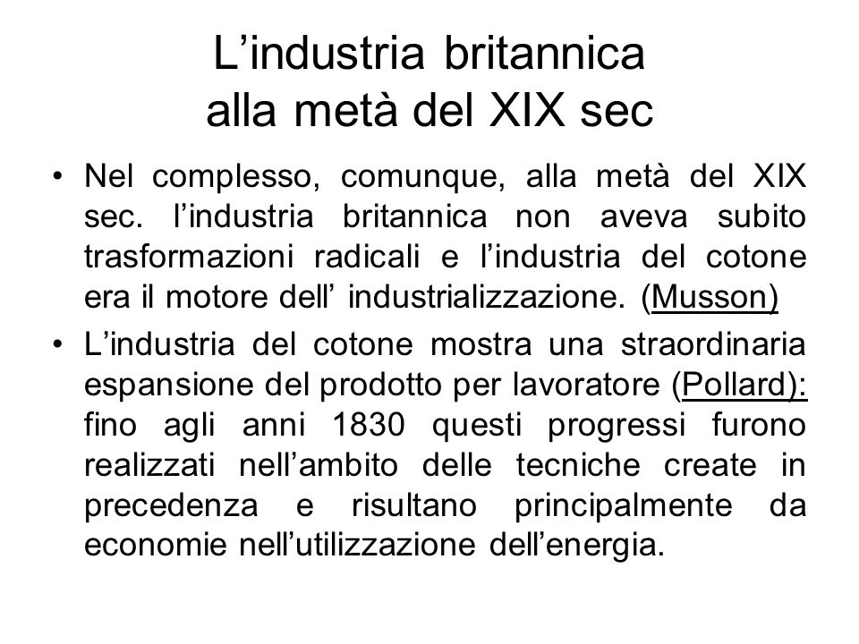 L'industria britannica alla metà del XIX sec