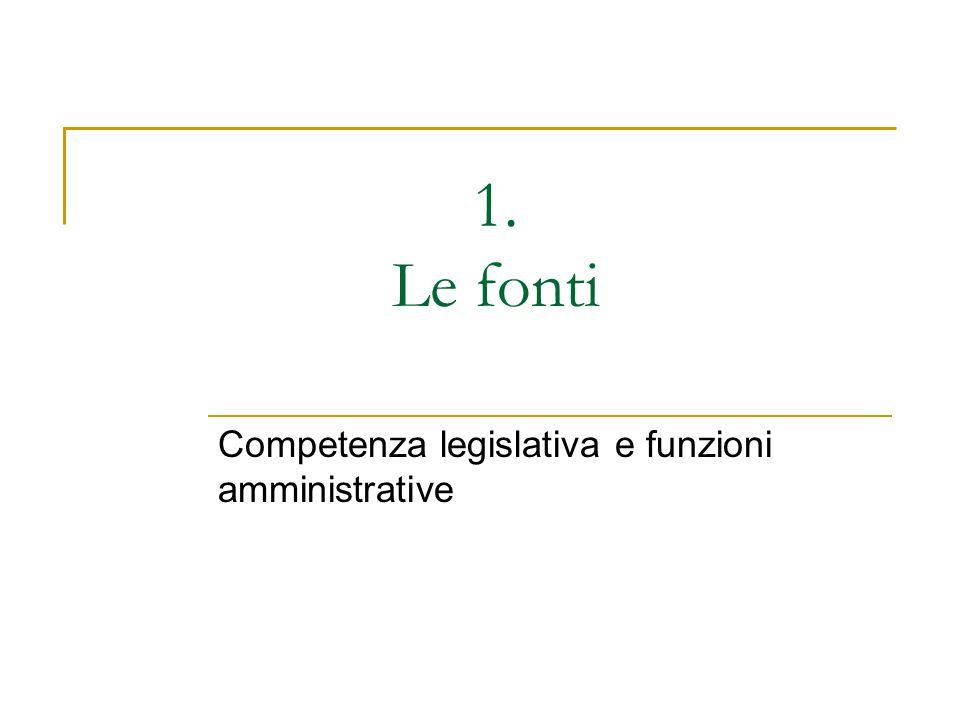 Competenza legislativa e funzioni amministrative
