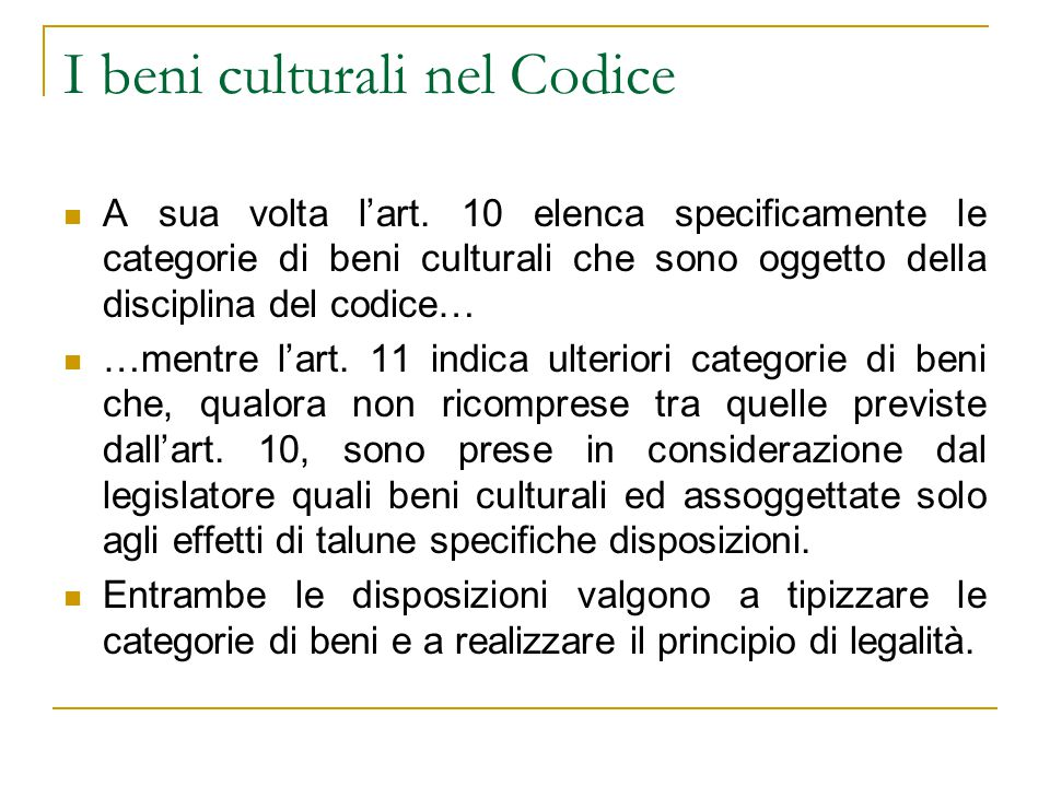 I beni culturali nel Codice