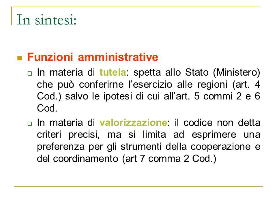 In sintesi: Funzioni amministrative
