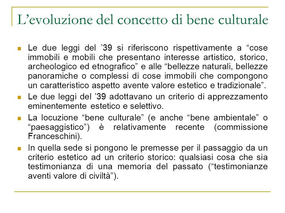 L'evoluzione del concetto di bene culturale