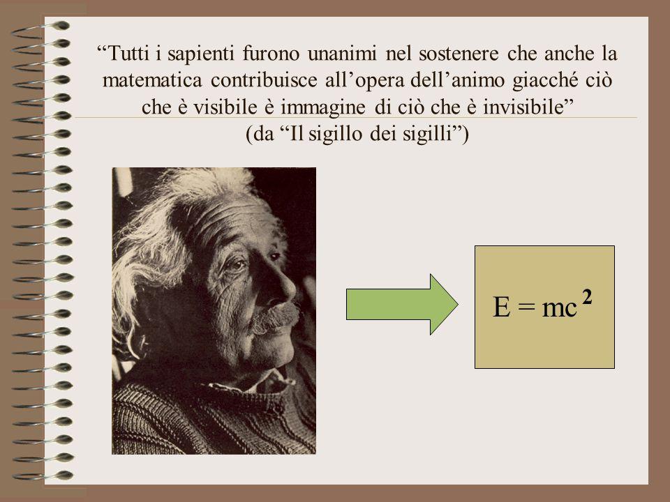 Tutti i sapienti furono unanimi nel sostenere che anche la matematica contribuisce all'opera dell'animo giacché ciò che è visibile è immagine di ciò che è invisibile (da Il sigillo dei sigilli )
