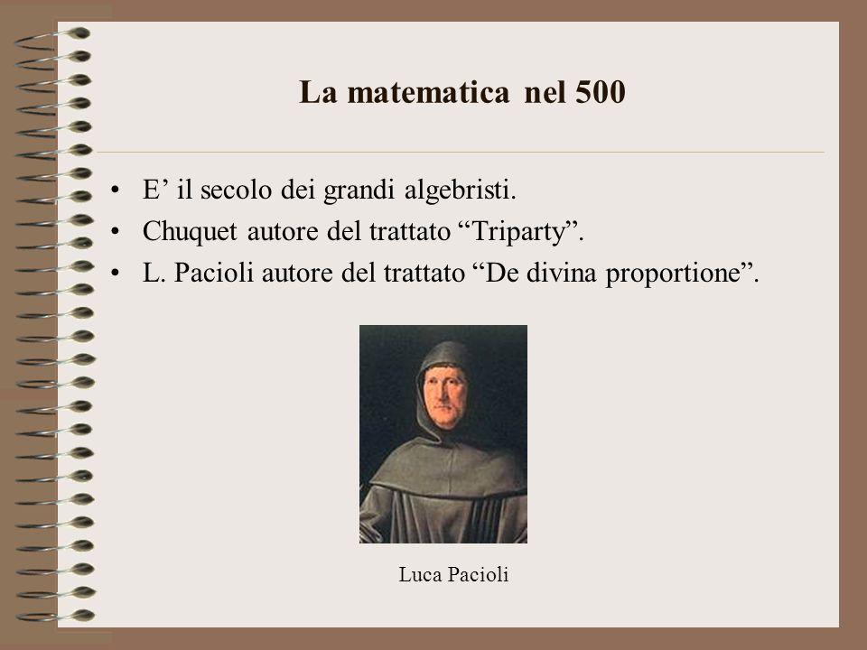 La matematica nel 500 E' il secolo dei grandi algebristi.