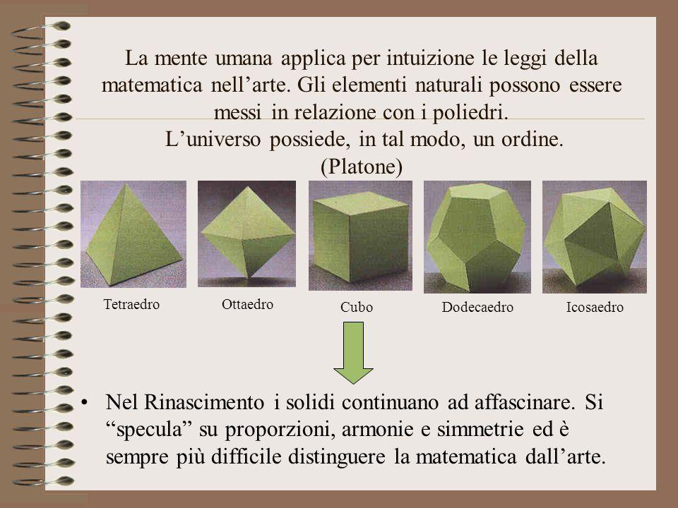 La mente umana applica per intuizione le leggi della matematica nell'arte. Gli elementi naturali possono essere messi in relazione con i poliedri. L'universo possiede, in tal modo, un ordine. (Platone)