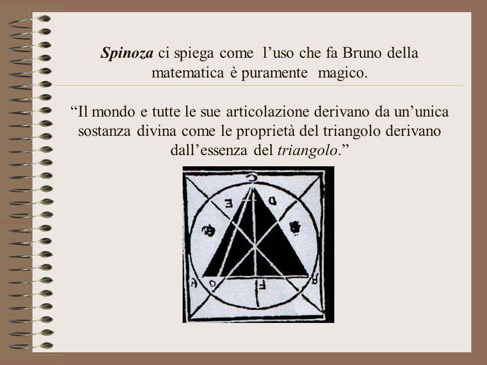 Spinoza ci spiega come l'uso che fa Bruno della matematica è puramente magico.