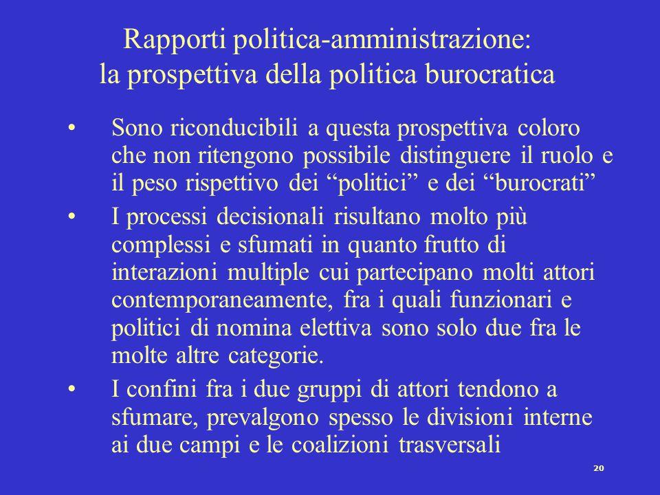 Rapporti politica-amministrazione: la prospettiva della politica burocratica