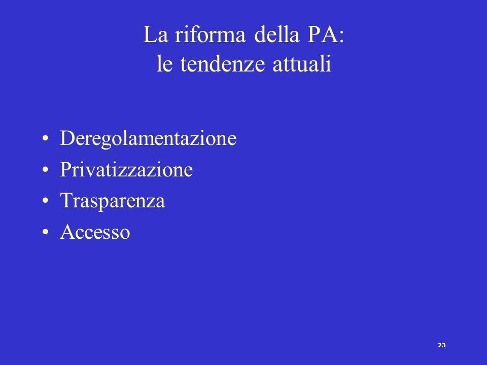 La riforma della PA: le tendenze attuali