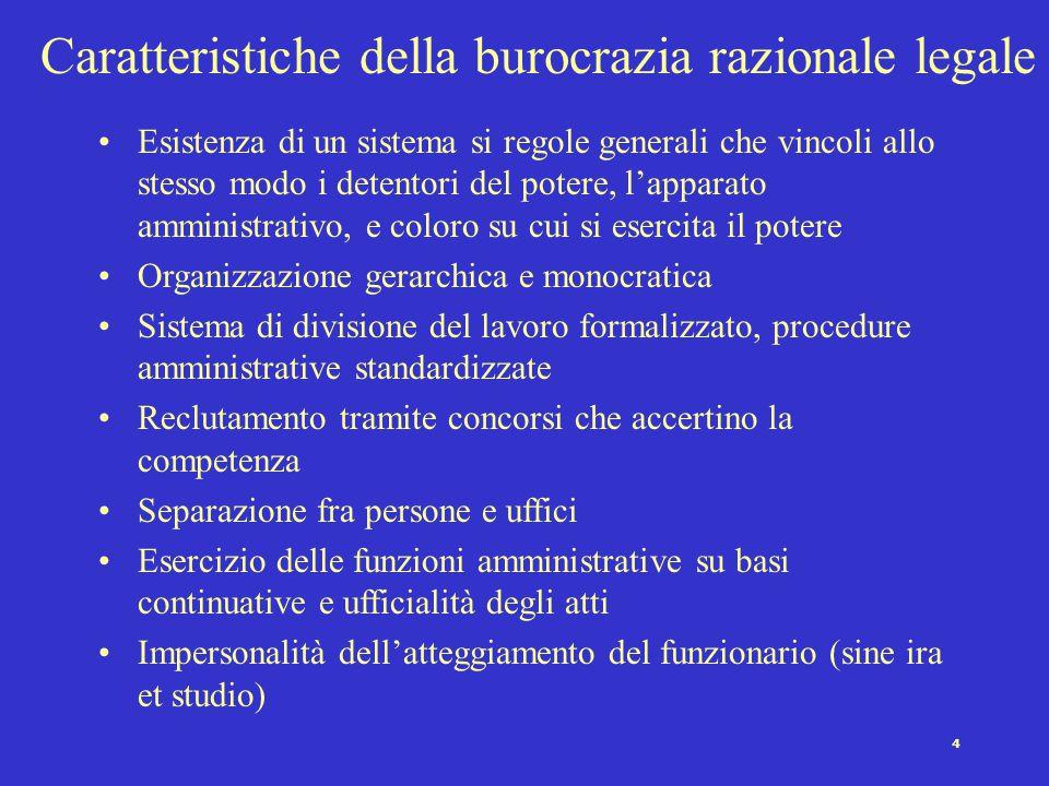 Caratteristiche della burocrazia razionale legale
