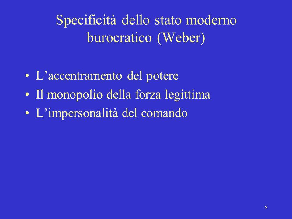 Specificità dello stato moderno burocratico (Weber)