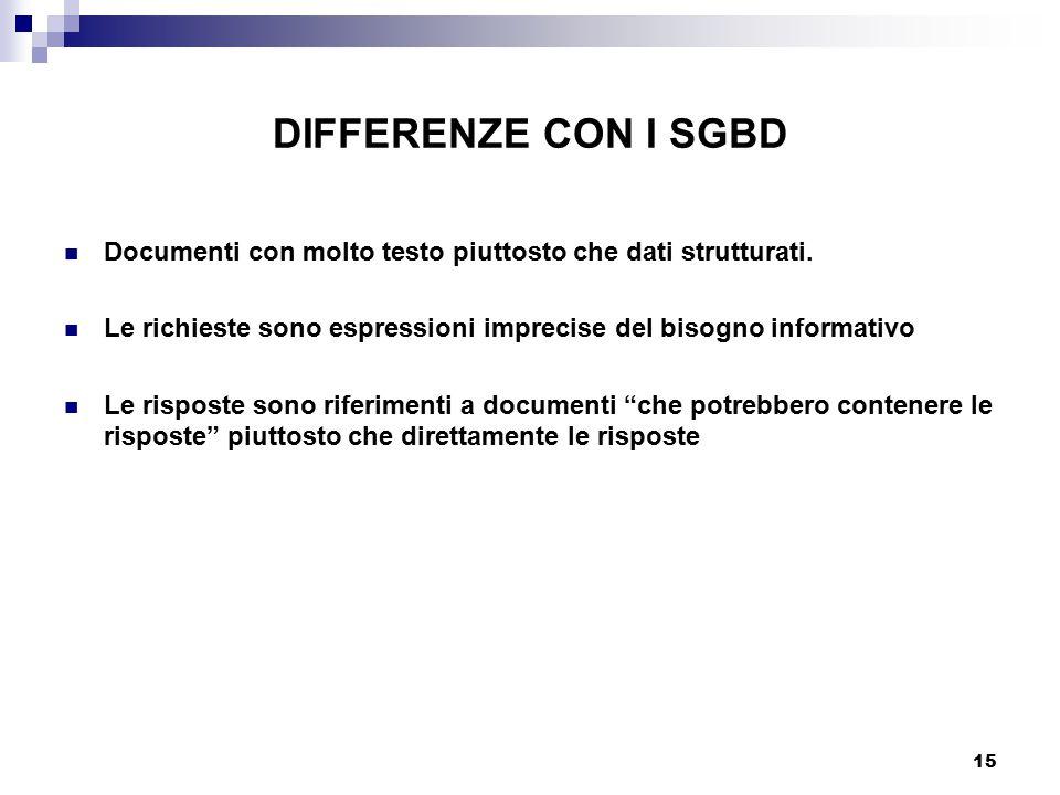 DIFFERENZE CON I SGBD Documenti con molto testo piuttosto che dati strutturati. Le richieste sono espressioni imprecise del bisogno informativo.
