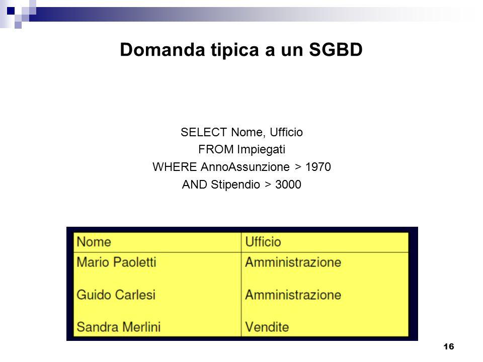 Domanda tipica a un SGBD