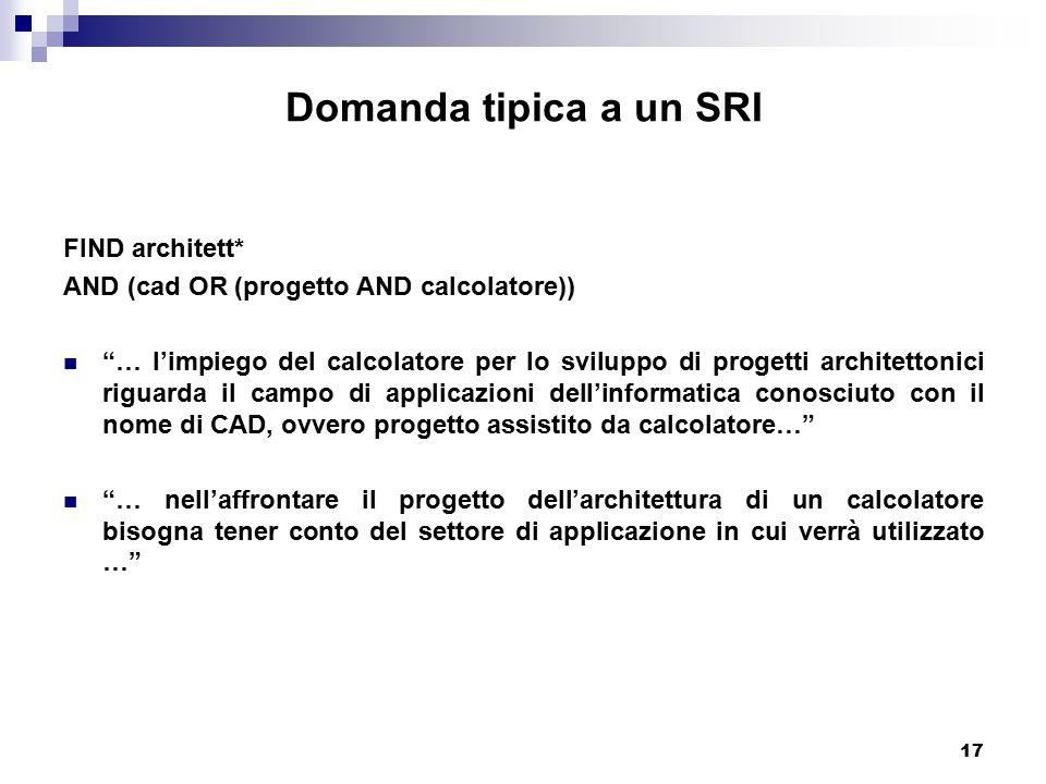 Domanda tipica a un SRI FIND architett*