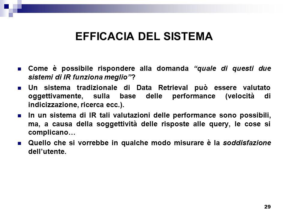 EFFICACIA DEL SISTEMA Come è possibile rispondere alla domanda quale di questi due sistemi di IR funziona meglio